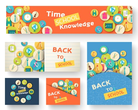 Back to school information pages set. Education template of flyear, magazines, posters, book cover, banner. Exam infographic concept background. Layout illustration template pages with typography text.