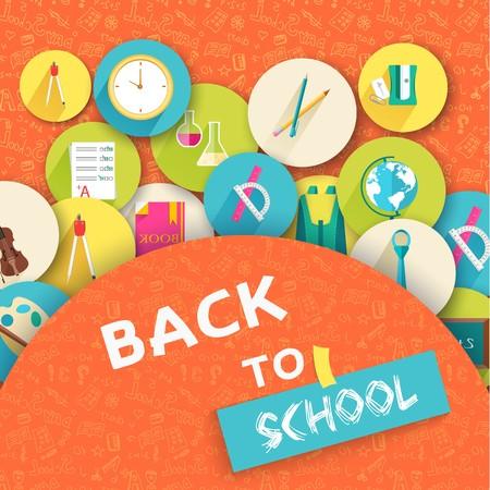 Back to school education vector art icons background. Flat university elements set. Template palette symbols for your study design Illustration