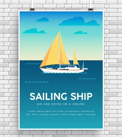 Yacht on water. icon poster on brick wall. Vector design illustration
