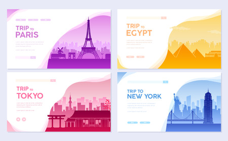 Travel information cards. Landscape template of flyear, magazines, posters, book cover, banners. Country of Japan, USA, France and Egypt set. Layout city pages