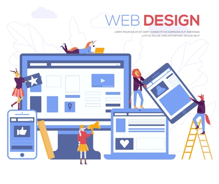 Development of mobile websites vector illustration. Creating a website applications, transferring information, web page design concept. Small people are working on SEO Illustration