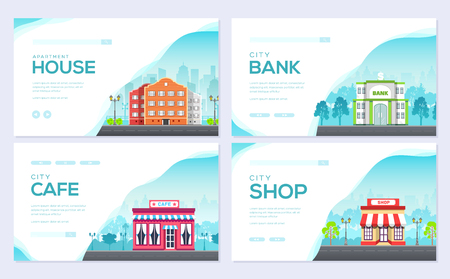 Building city information cards set. Architecture template of flyear, magazines, poster, book cover, banners. Construction infographic background. Layout illustrations modern pages with typography Illustration