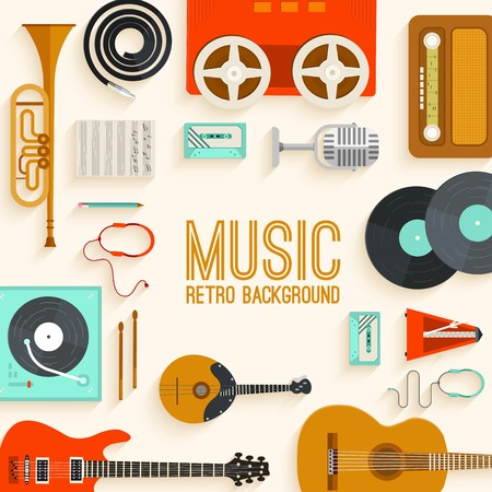 Retro equipment music set circle infographics template concept. Icons design for your product or design, web and mobile applications. Vector flat with long shadow illustration on blue background.