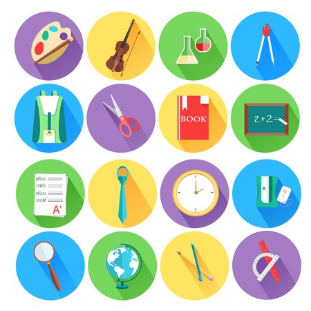 flat icons set of back to school concept. Vector illustration design.