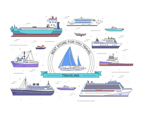 Set of thin line ship flat yacht, scooter, cargo, steamship, ferry, fishing boat, tug, bulk carrier, vessel, pleasure, cruise with sea background concept. Vector outline illustration Illustration