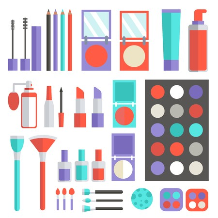 Flat women makeup cosmetics lying on the table with a mirror background concept. Vector illustration design template Archivio Fotografico - 120080957