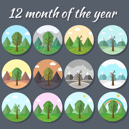 12 Months of the Year. Weather year information set. Seasons banners. Infographic concept background. Layout illustrations template pages with typography text.