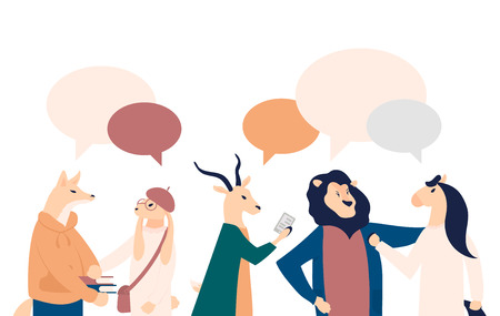 businessmen discuss social network vector illustration. News, social networks, chat, dialogue speech bubbles on flat style