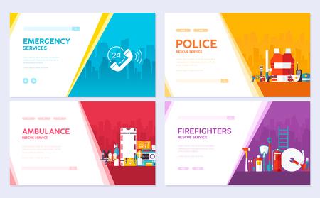 Firefighter, rafting, police, medicine rescue set. Emergency services brochure card set. template of flyear, web banner, ui header, enter site. Layout invintation modern