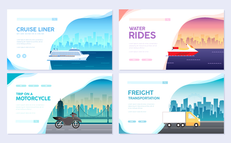 Variations transport of travel vacation tour guide infographic. Cruise, bus journey. Vector flyear, invitations, cards, presentation, poster, banners set design. Vetores