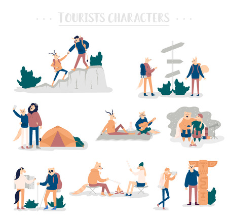 Guy and girl pitching tent, lying in hammock, watch the stars, backpacking. Set of young romantic couples during hiking adventure travel or camping trip. Flat colorful vector illustration