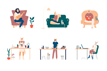Playing guitar, eating sushi, surfing internet, listening to music, reading books, cooking. Bundle of young men and women spending weekend at home. Colored vector illustration in flat cartoon style 向量圖像