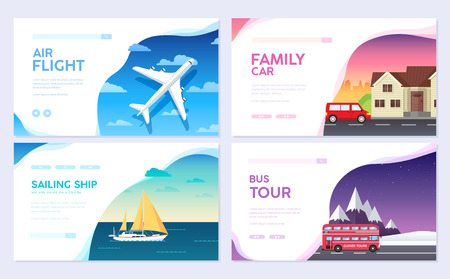 Variations transport of travel vacation tour guide infographic. Cruise, bus, flying on plane, car journey. Vector flyear, invitations, Magazines, cards, presentation, poster, banners set design.