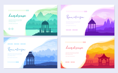 Outdoor gazebo in nature landscape. Romantic place on sunrise brochure card set. Landmark template of flyear, web banner, ui header, enter site. Layout invintation modern slider
