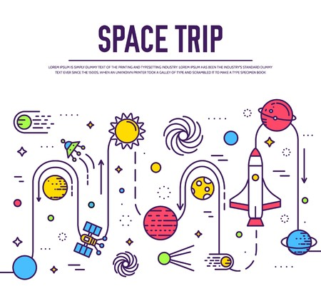 Set of huge space infographic universe illustration. Outer space rocket flying up trip into the solar system with a lot of planets background. Vector thin lines icons stars in galaxy design concept.