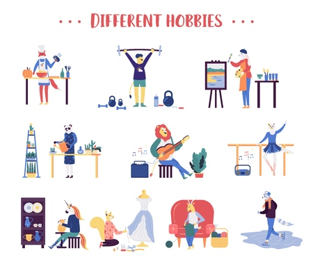 Colorful flat style of various animals doing different sports and hobbies on white background. Set of animals having different hobbies