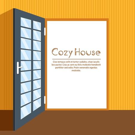 Door interior living room vector background card