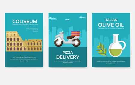 Set of Italy country ornament travel tour concept. Asia traditional, magazine, book, poster, abstract, element. Vector decorative ethnic greeting card or invitation design background Illusztráció
