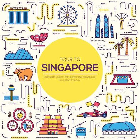 Land Singapur Reiseführer für Waren, Orte und Funktionen. Satz Architektur, Mode, Leute, Einzelteil, Naturhintergrundkonzept. Infografik traditionelle ethnische flach, Umriss, dünne Linie Icon-Design Vektorgrafik