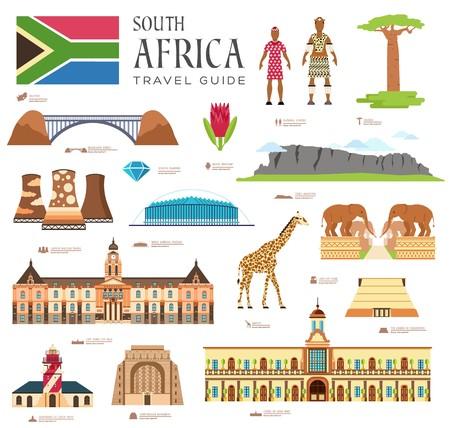 Country South Africa Reiseführer von Waren, Orten und Funktionen. Satz Architektur, Mode, Leute, Einzelteile, Naturhintergrundkonzept. Infografik-Vorlagendesign auf flachem Stil