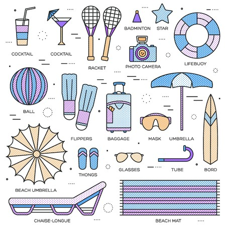 Summer travel infographic icons items banners design. Vacation rest with any elements set. Tour, trip, journey outline illustrations vector background. Tourist image on thin line style concept.