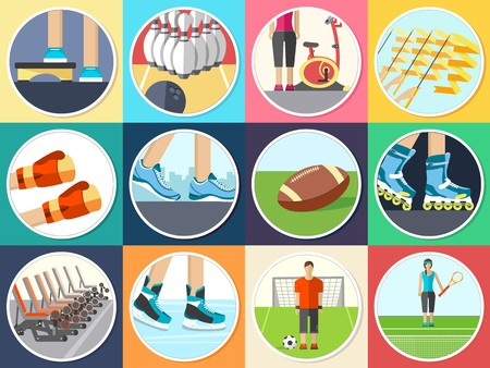 Sport life stile infographic with gym device, equipment and items. Training apparatus on a flat design style. Vector illustration workout concept icons set. Stock Vector - 124222164