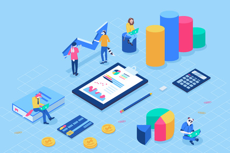 Can use for web banner, infographics, header vector illustration. Financial administration concept with characters. Flat isometric isolated on white background. Vektoros illusztráció