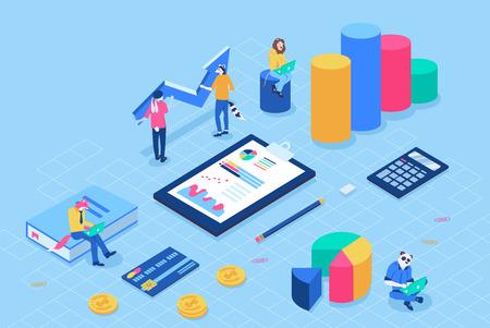 Kann für Web-Banner, Infografiken, Header-Vektor-Illustration verwendet werden. Finanzverwaltungskonzept mit Charakteren. Flache isometrische isoliert auf weißem Hintergrund. Vektorgrafik