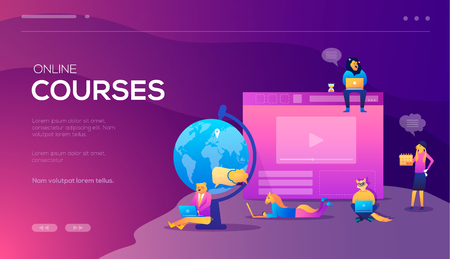 Online training courses, retraining, specialization, tutorials. Can be used for web promotional. Vector concept for online education. Landing web banners design Vectores