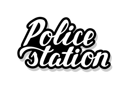 Police station calligraphy template text for your design illustration concept. Handwritten lettering title vector words on white isolated background