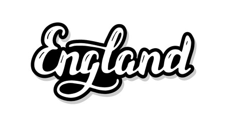 England calligraphy template text for your design illustration concept. Handwritten lettering title vector words on white isolated