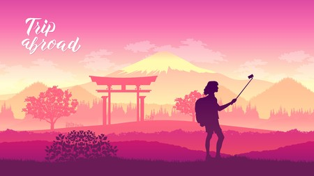 A tourist stands in the background of popular country places. Travel world tour trip concept. Journey adventure to Japan design illustration