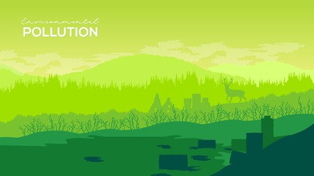 Deforestation environmental forest destroyed for oil palm plantations. Pine tree forestry exploitation. Overexploitation leads to endangering environment and sustainability concept Ilustrace