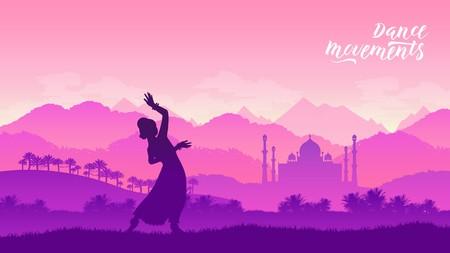 Beautiful indian girl dancer concept Illustration