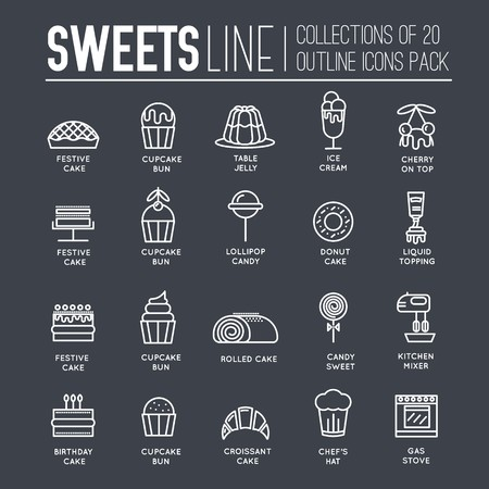 Cake stand in shop thin line illustration. outline sweet for party background. Food icon set on happy birthday or wedding. Vector collection object. Illustration