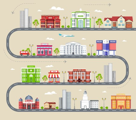 Flat colorful vector city buildings infographic Icon background concept design. Architecture construction: courthouse, home, museum, skyscraper, hospital, hotel, opera, theater. Vector urban landscape.
