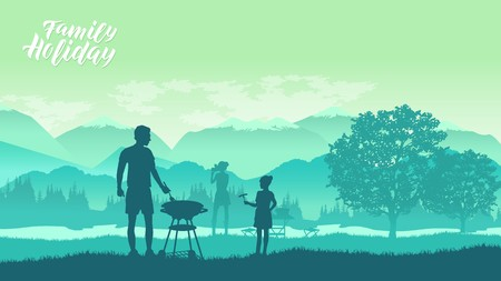 Family camping and having a barbecue in nature illustration. Happy father and daughter making barbecue for family concept Ilustrace