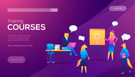 Teamwork, training, improving professional skill, class recording access concept. Website landing web page violet background. Students watching recorded lecture with professor talking from tablet.