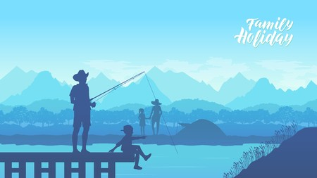 Camp in the mountains near of the lake illustration design. Happy Father and Son together fishing from a pier in summer day concept