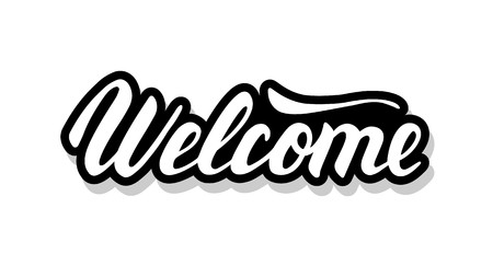 Welcome calligraphy template text for your design illustration concept. Handwritten lettering title vector words on white isolated
