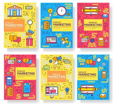 Conjunto de delgada línea de tarjetas de folleto de vector de negocio. Plantilla de marketing de flyear, revistas, carteles, portadas de libros, pancartas. Diseño de contorno ilustraciones páginas modernas
