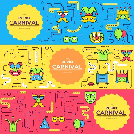Celebration festival holiday party equipment thin lines icons set. Vector masquerade carnival collection design illustrations concept Vecteurs