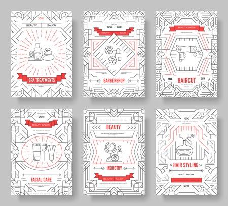 Salón de belleza de línea delgada con conjunto de tarjetas de folleto de vector de surtido. Plantilla de cosmetología de flyear, revistas, carteles, portadas de libros, pancartas. Concepto de invitación de equipo de esquema.