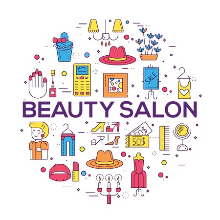 Thin line Beauty salon with assortment vector brochure cards set.  Cosmetology template of flyear, magazines, poster, book cover, banners. Outline equipmen invitation concept.