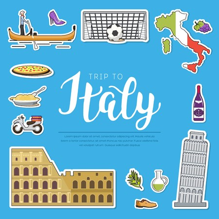 Country Italy travel vacation guide of goods, places and features. Set of architecture, fashion, people, items, nature background concept. Infographic template design sticker flat style Ilustração