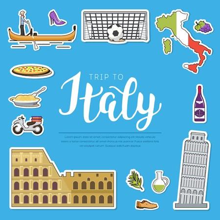 Land Italien Reise-Reiseführer von Waren, Orten und Funktionen Satz Architektur, Mode, Leute, Einzelteile, Naturhintergrundkonzept. Infografik-Schablonen-Design-Aufkleber im flachen Stil Vektorgrafik