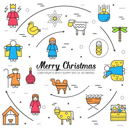 Merry Christmas thin line icons flat set background. Outline birth of Christ illustration background concept.