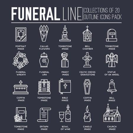 Set di icone di raccolta di linee sottili dedicate al funerale, alla morte e al cimitero. Attributi rituali di contorno vettoriale per la vita dello sfondo delle persone.
