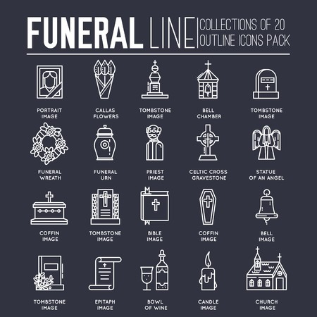 Thin lines collection icons set dedicated to funeral, death, and cemetery. Vector outline ritual attributes for life of people background. 일러스트
