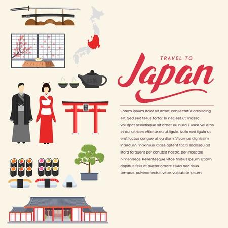 Country Japan travel vacation Vektoros illusztráció